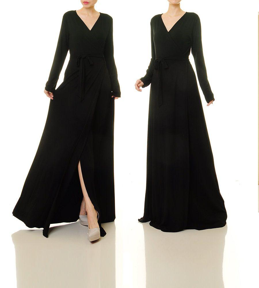 Wrap dress long sleeve wrap dress black black cocktail dress