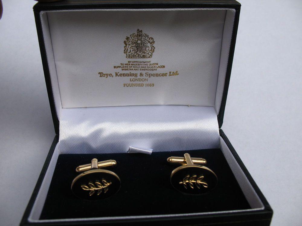 Masonic Sprig of Acacia Toye Kenning Spencer Cufflinks Gold
