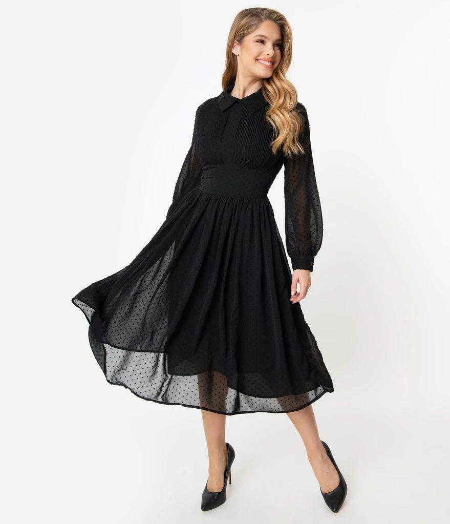Unique Vintage 1940s Black Clip Dot Deirdre Shirt Dress In 2021 Dresses Unique Dresses Vintage Dresses [ 1023 x 879 Pixel ]