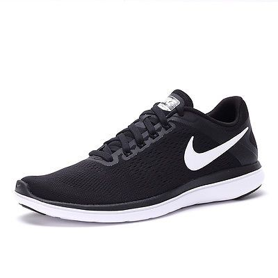 3e1cc35ce57 Nike Flex 2016 RN Mens 830369-001 Black White Grey Mesh Running Shoes Size  13
