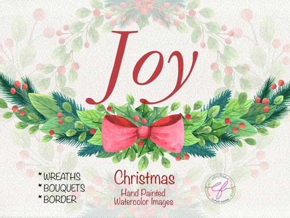 ChristmasJoy Watercolor Clipart Christmas | Etsy
