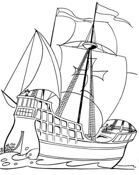 Columbus Day Ships Coloring Pages Christopher Columbus