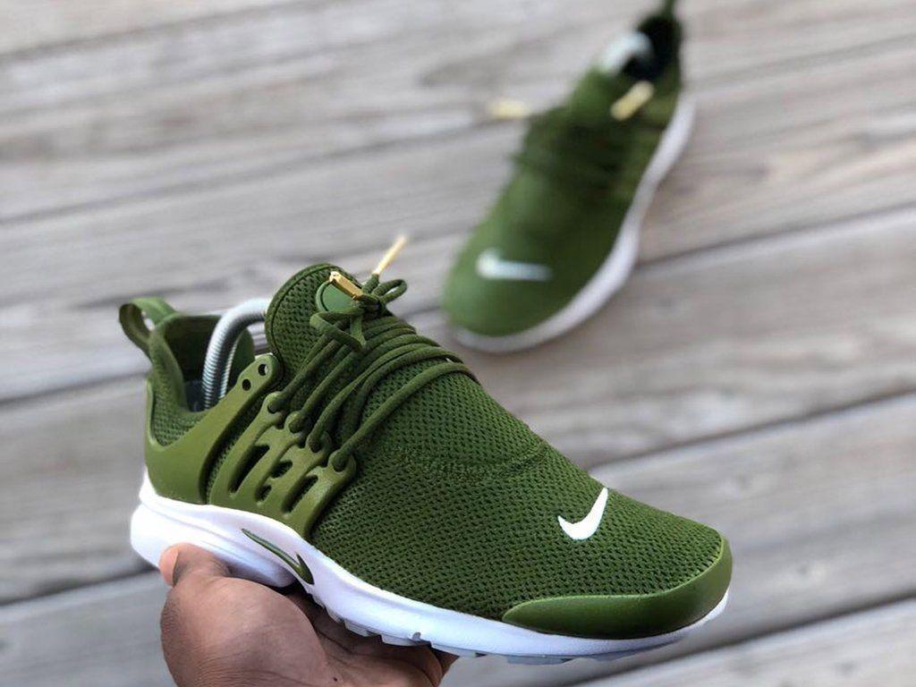 Custom Green Nike Prestos Sneakers Fashion Trending Shoes Sneakers Men