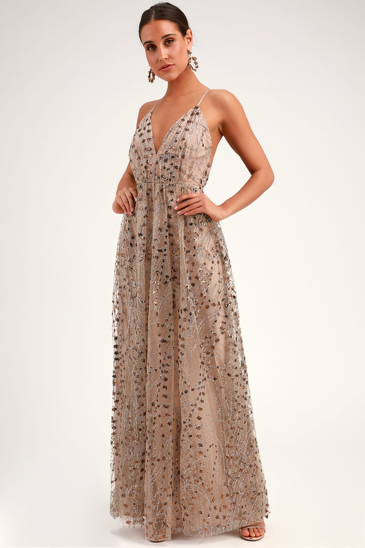 Luminous Night Taupe Glitter Sequin Maxi Dress In 2020 Sequin Maxi Dresses Sequin Dress