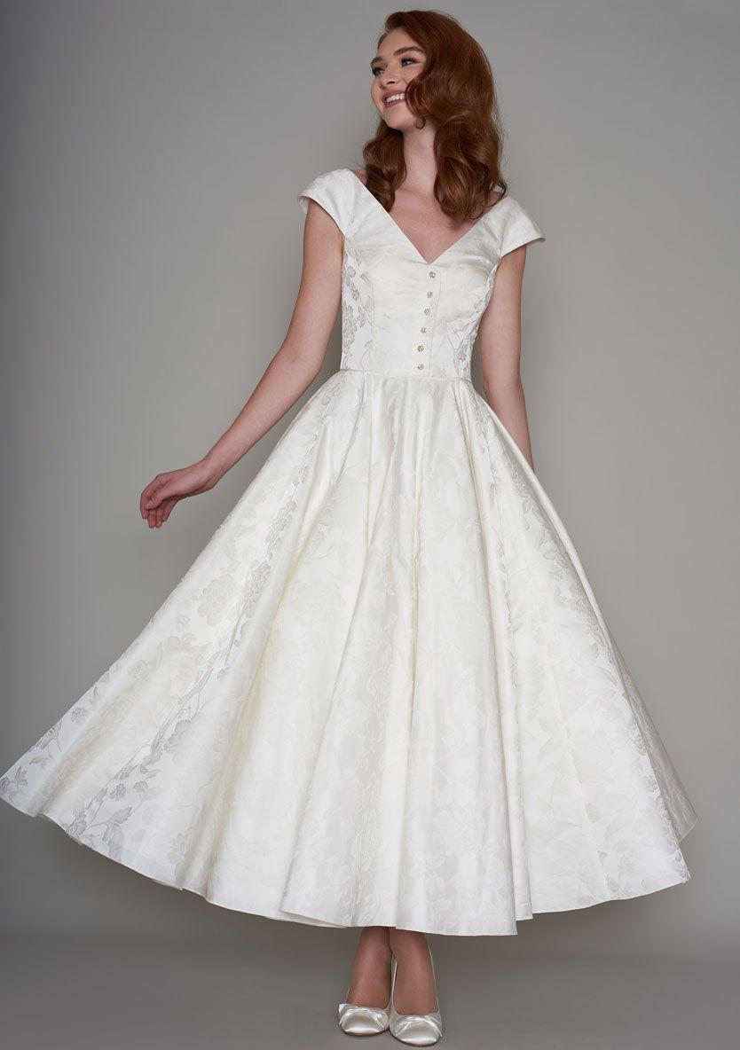 Lb171 Becky Front In 2020 Vintage Inspired Wedding Gown Tea Length Wedding Dress Wedding Dresses