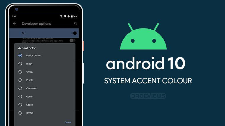 How To Change System Accent Color On Android 10 Droidviews Accent Colors Android Support Icon