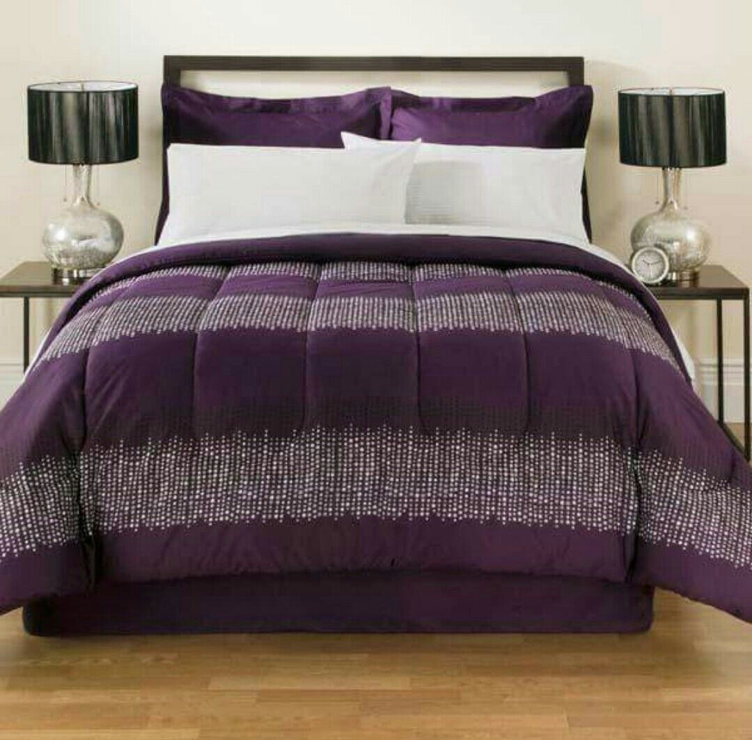 Purple Marvelous Bedding Set With Images Bedding And Curtain Sets Bed In A Bag Bed