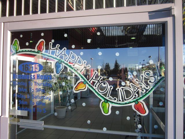 Seasonal Storefront Window Art By >> Hand Drawn Window Paintings Christmas Window Painting Seasonal