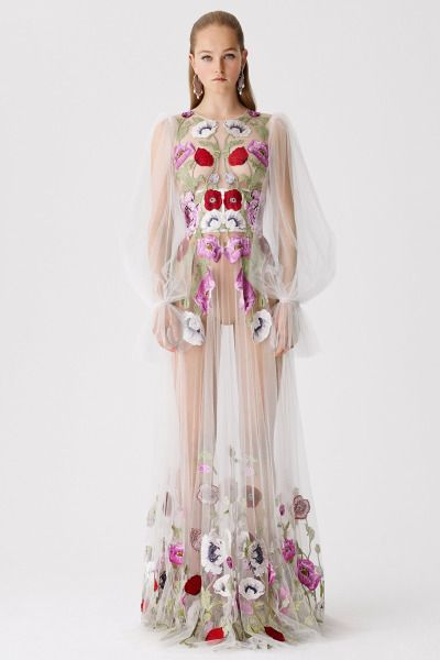 Alexander McQueen Resort 2017....Wow, what fun. Imagine walking in this. Change the colors to fit the wedding theme and add the under-dress