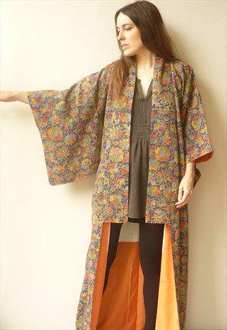 Vintage+Japanese+Floral+Print+Full+Length+Kimono+Robe+Jacket
