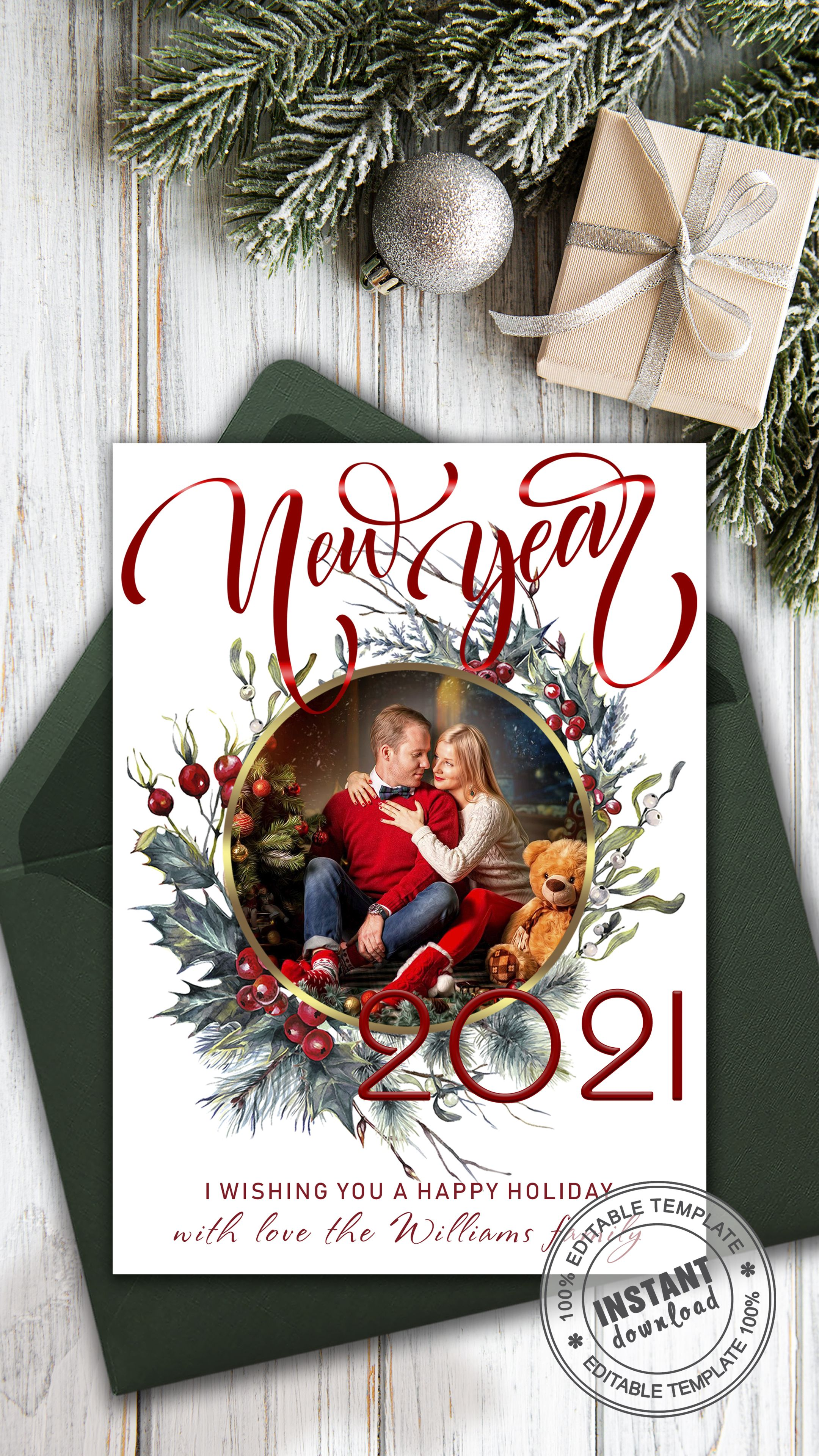 Custom New Year Card Template Holiday Family Card With Photo Etsy In 2021 Custom Holiday Card Family Holiday Cards Personalised Christmas Cards