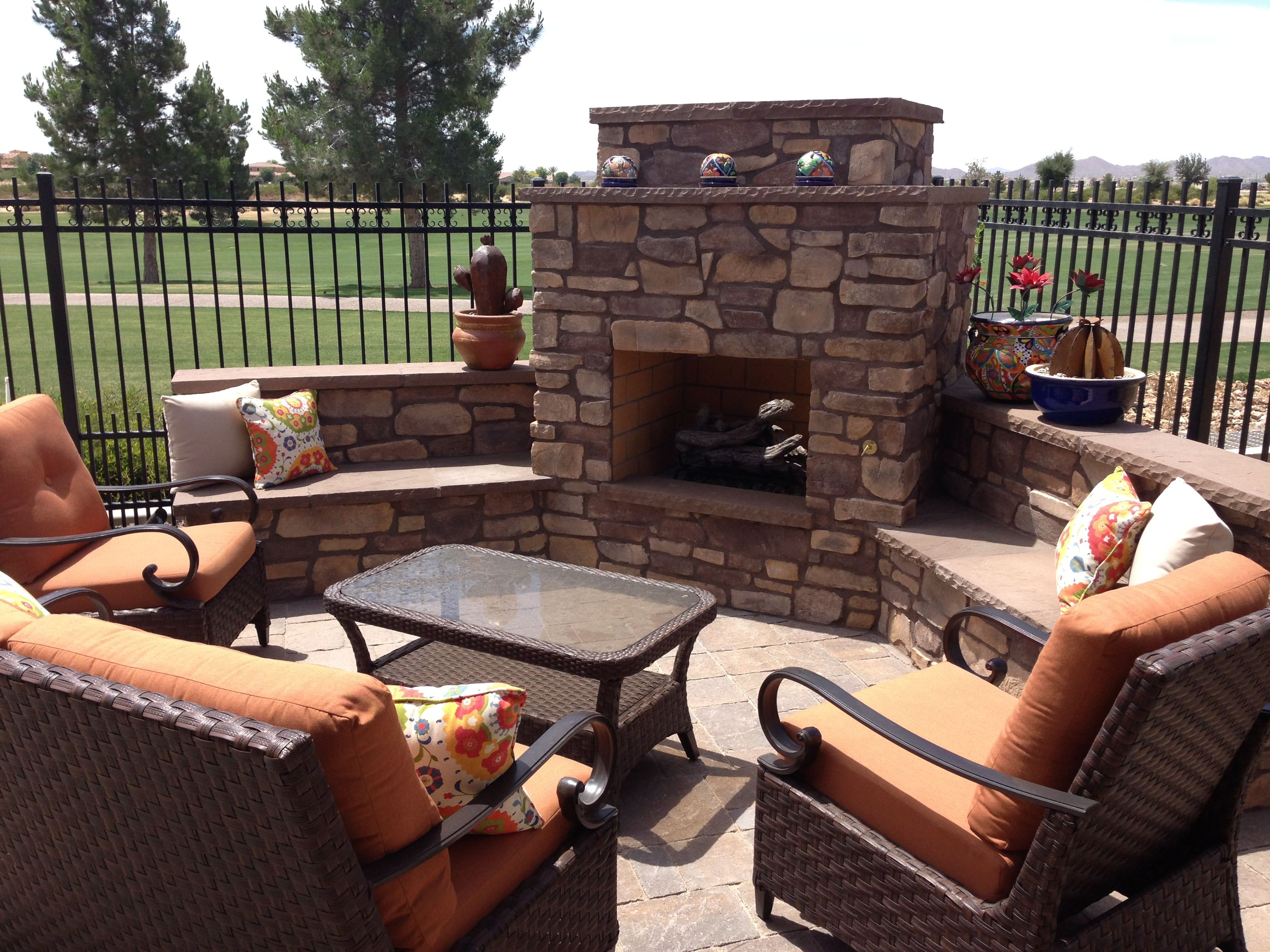 Backyard Landscape Ideas With Fire Place Cozy