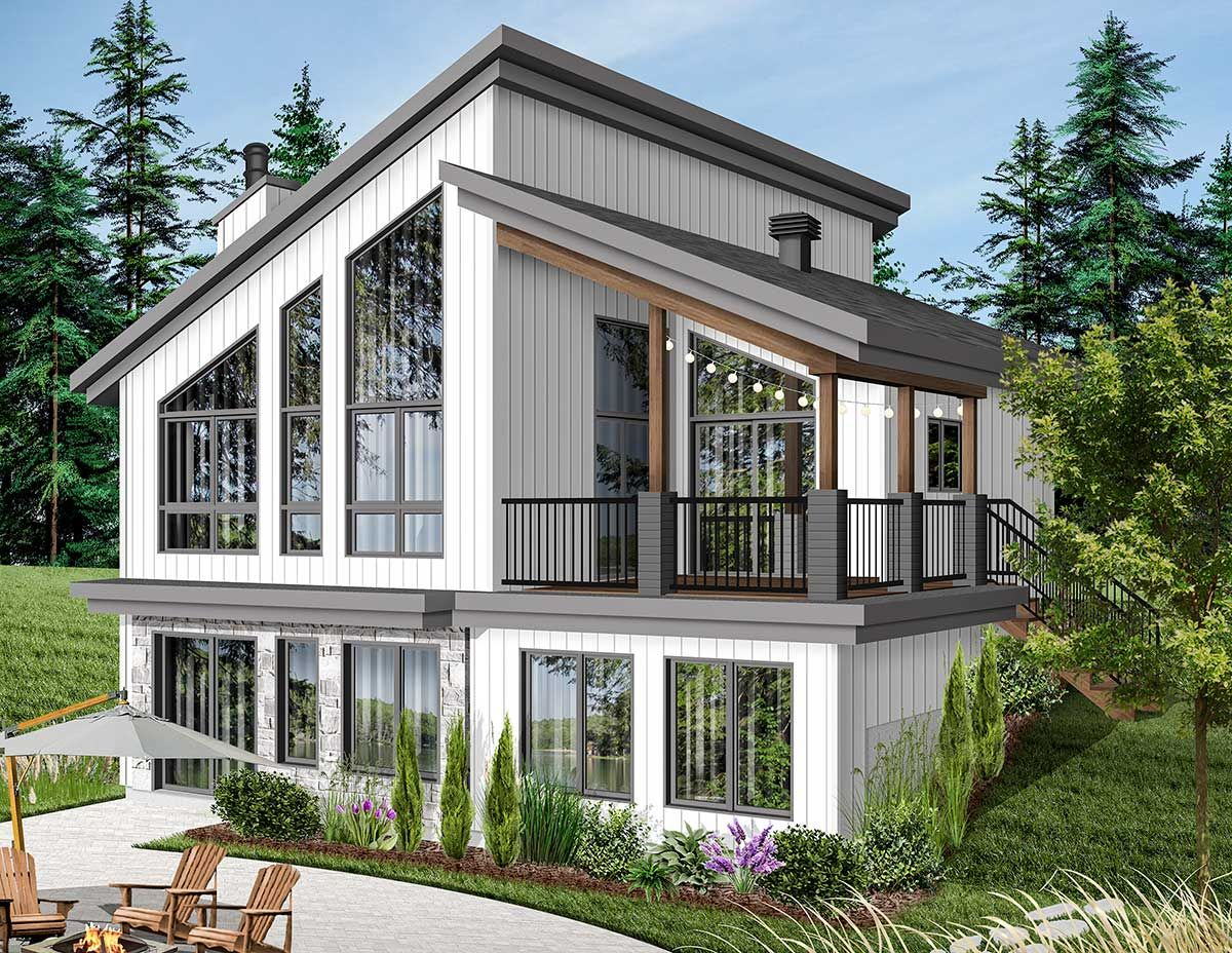 Plan 22522dr Modern Vacation Home Plan For The Sloping Lot In 2021 Small Lake Houses Lake House Plans Modern Style House Plans
