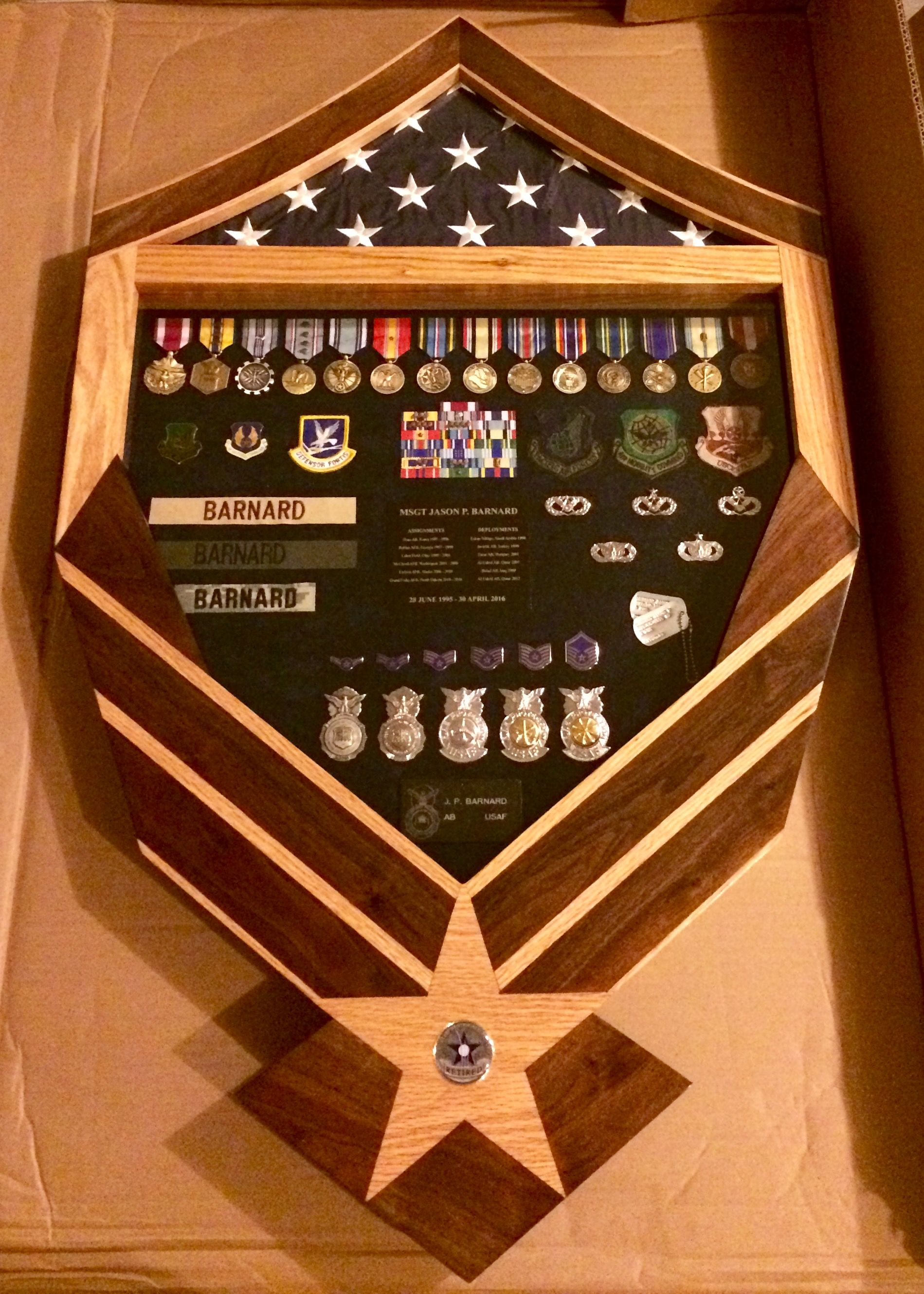 Custom made solid oak and walnut inlayed military Air