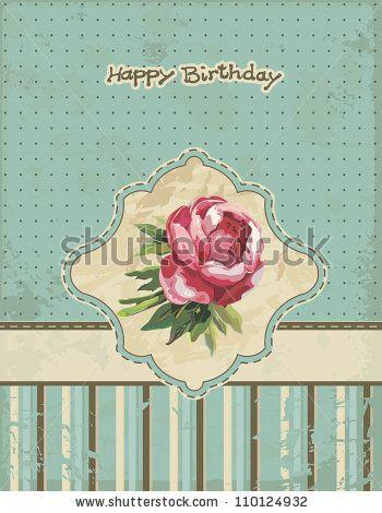 Elegant Vintage grunge background. Elegance Greeting card design. Happy Birthday vector illustration with flowers. by Alexey Vl B, via Shutt...