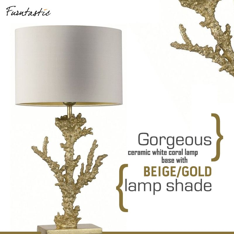 Gorgeous Ceramic White Coral Lamp Base With Beige/gold Specks Lamp Shade.  Perfect For A Lake House, A Sun Porch Or Beach Theme.