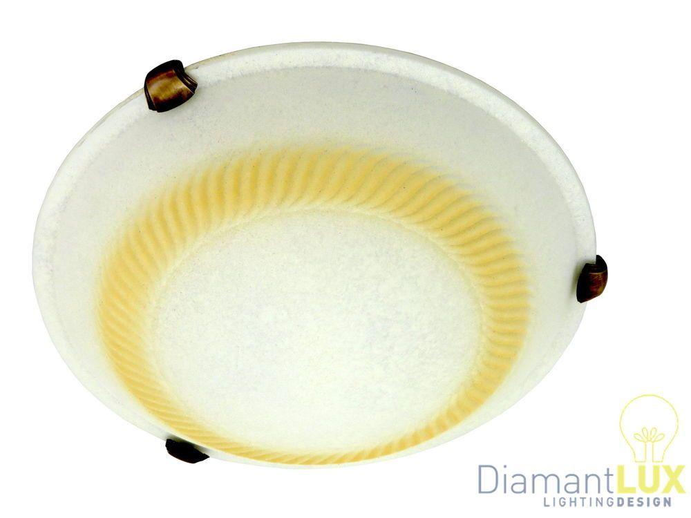 Plafoniere Industriali Diametro 30 : Plafoniera classica rustica country vetro scavo ambra d bagno