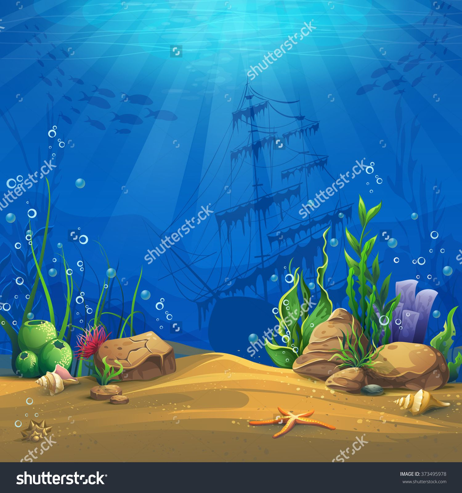 Undersea Marine Life Landscape The Ocean And The Underwater World With Different Inhabitants For Design Websites And Mobile Phones Printing Fish Illustration Underwater World Shark Painting