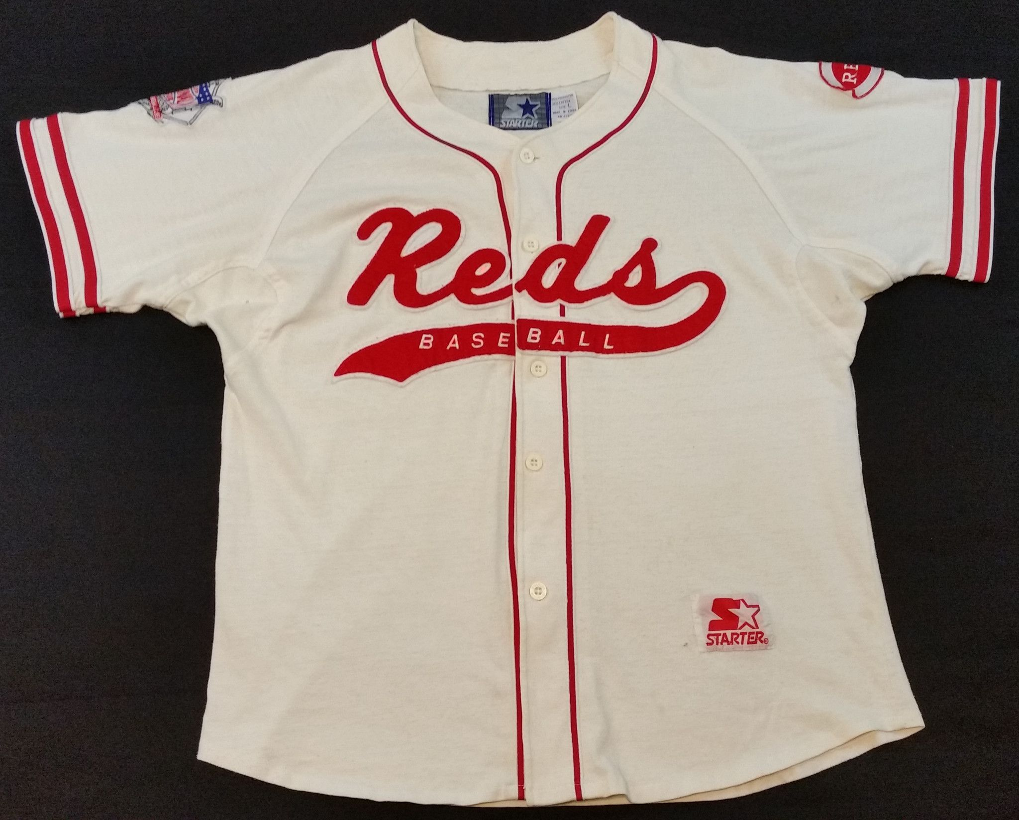 295e0b1f5 Cincinnati Red Vintage Starter Jersey Script Rare MLB Baseball Majestic  Mens L