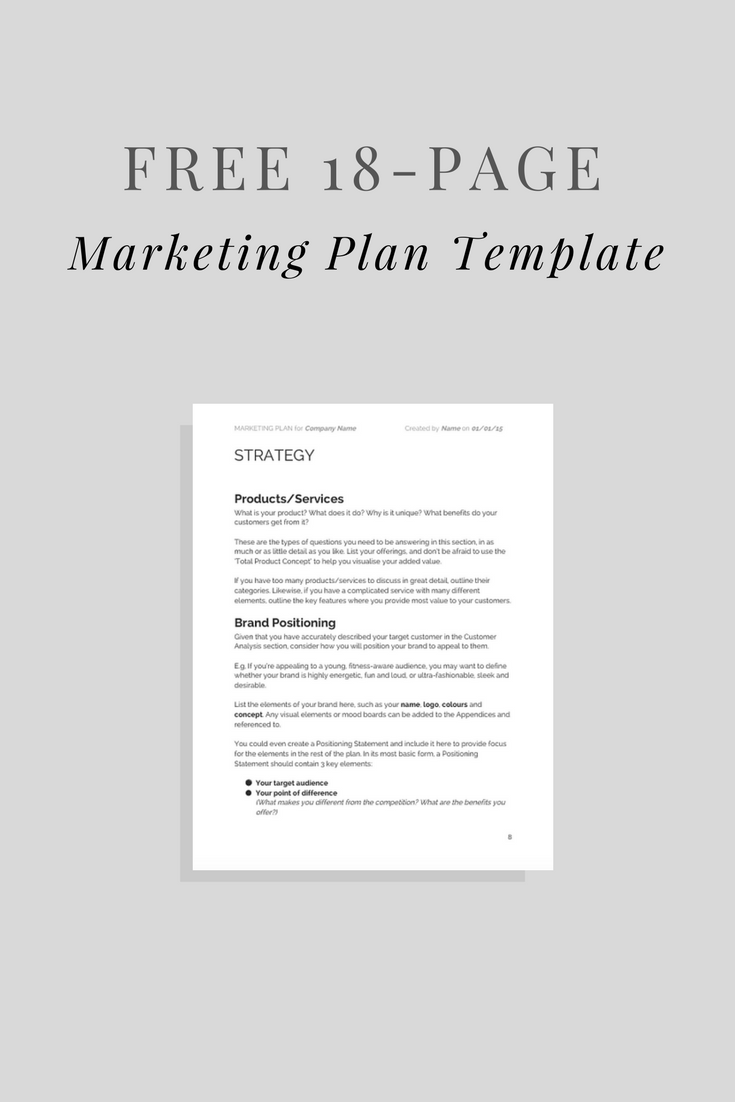 Free Marketing Plan Template! | Articles | Pinterest | Marketing ...