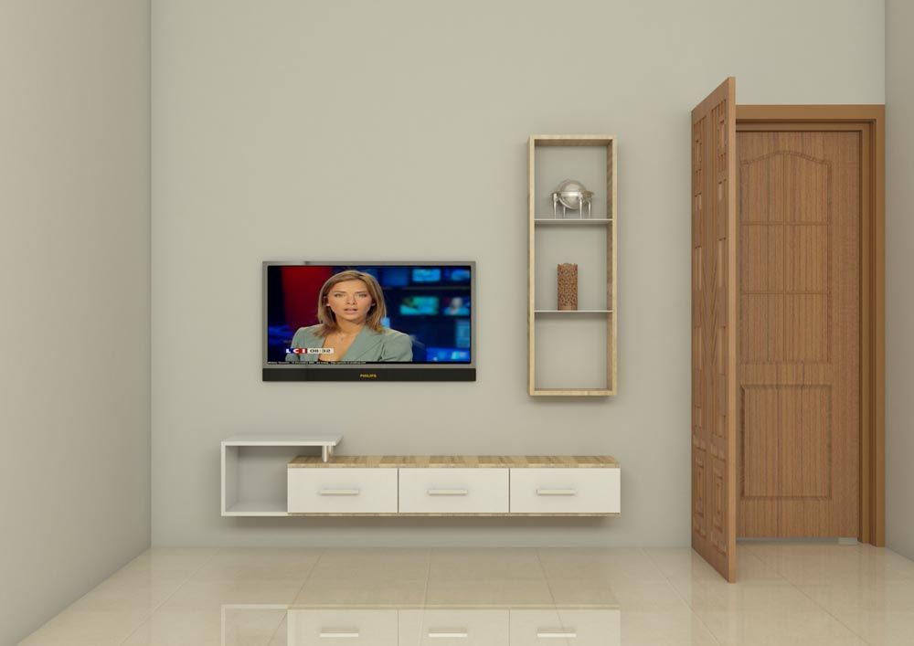Modular Space Saving TV Unit Made Up Of Plywood With Laminate Finish The Living Room Looks Clutter Free This Beautifully Crafted