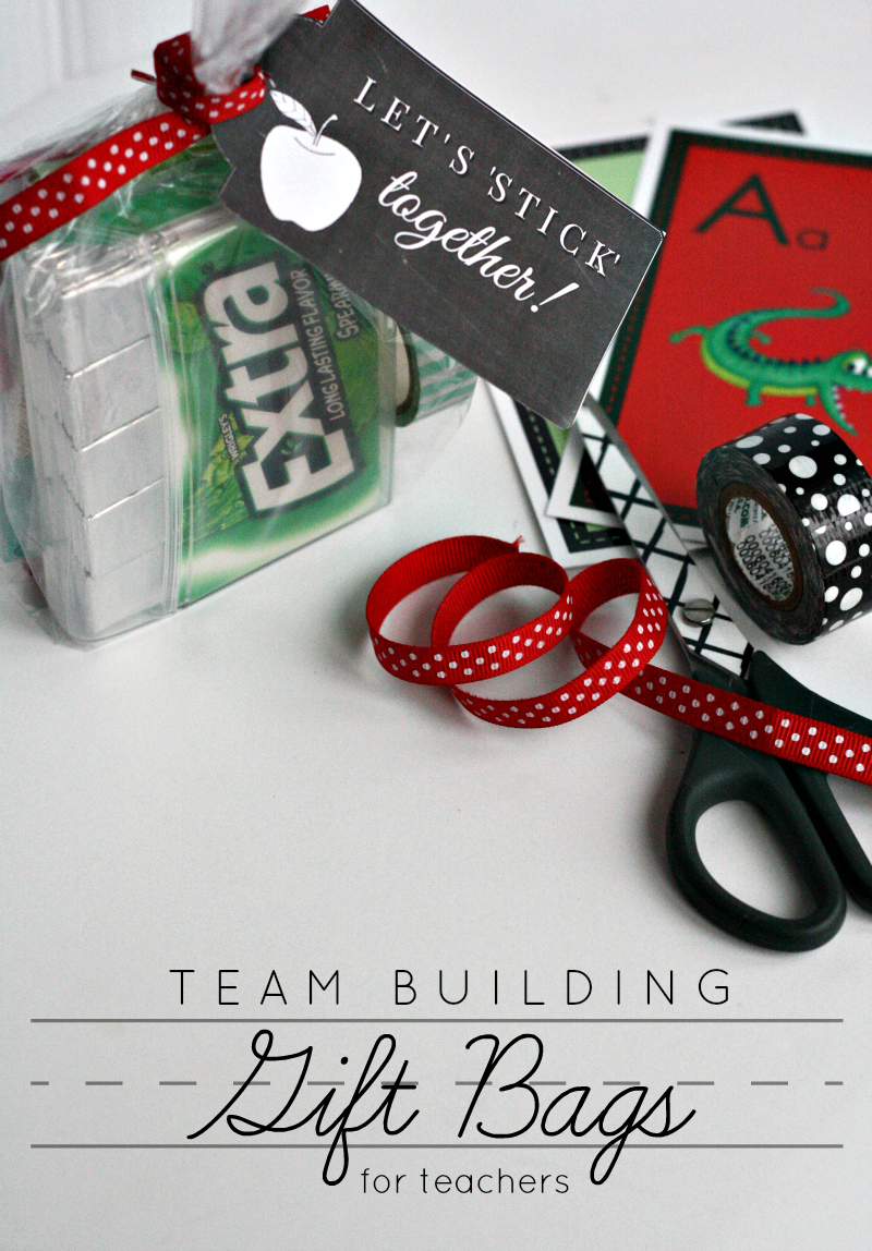 Team Building Gift Bags For Teachers And Printable Let S Stick Together Tags Giveextragetextra Target Ad Encouragement Gifts Team Building Dance Team Gifts