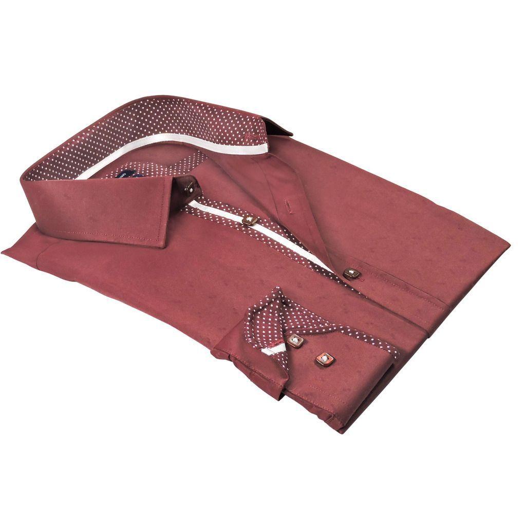 Rosso Milano Italy Men's -blend Jacquard European Modern-fit Dress Shirt
