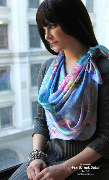 Explorez Foulards De Soie, Écharpe En Soie et plus encore ! 100% silk scarf  turquoise lilac blue square