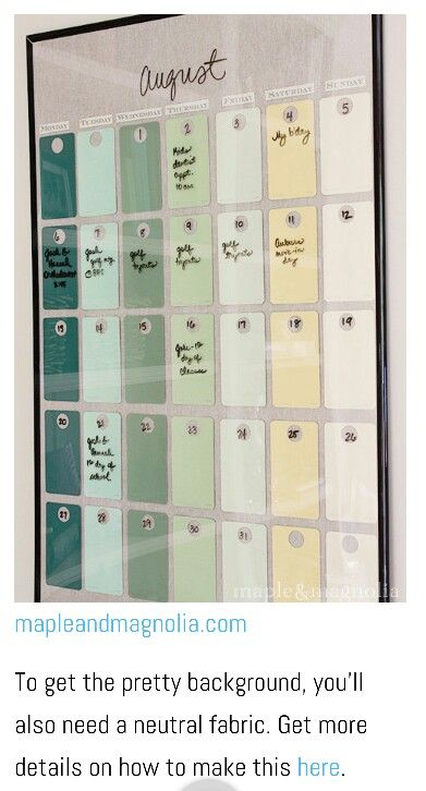 A Dry Erase Calendar Made Out Of A Poster Fre And Paint Chips Best