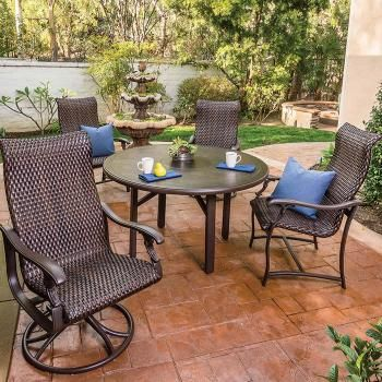 Ravello Woven Outdoor Dining Chairs and Swivel Rockers with ...