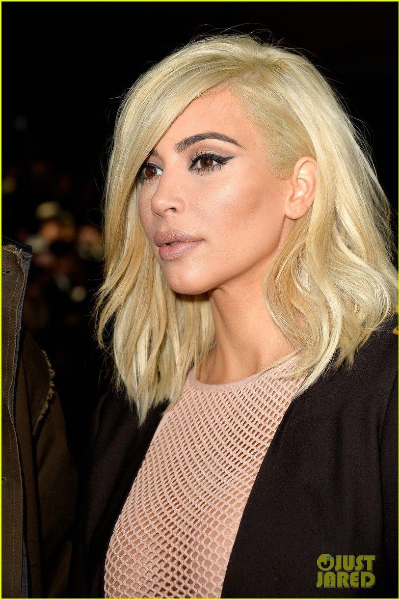Kim kardashian platinum blonde hair get all the attention at lanvin
