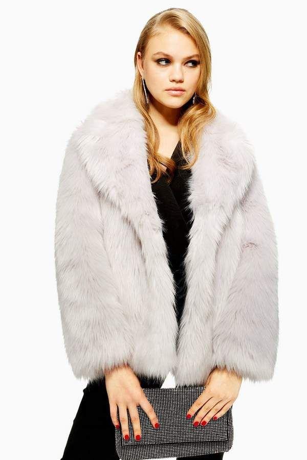 1d2c67b9e4b PETITE Luxe Faux Fur Coat - Petite - Clothing   Products   Grey faux ...