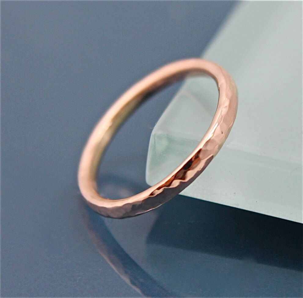 14k Solid Rose Gold Wedding Band 2mm Hammered Texture Mens Or Womens Recycled Eco
