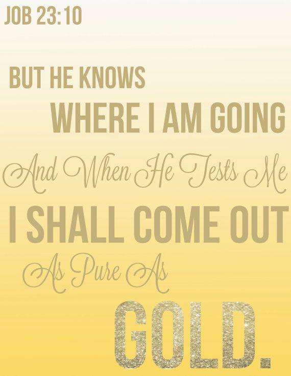 Job 23:10 bible verse wall decor design on Etsy | Quotes | Pinterest ...