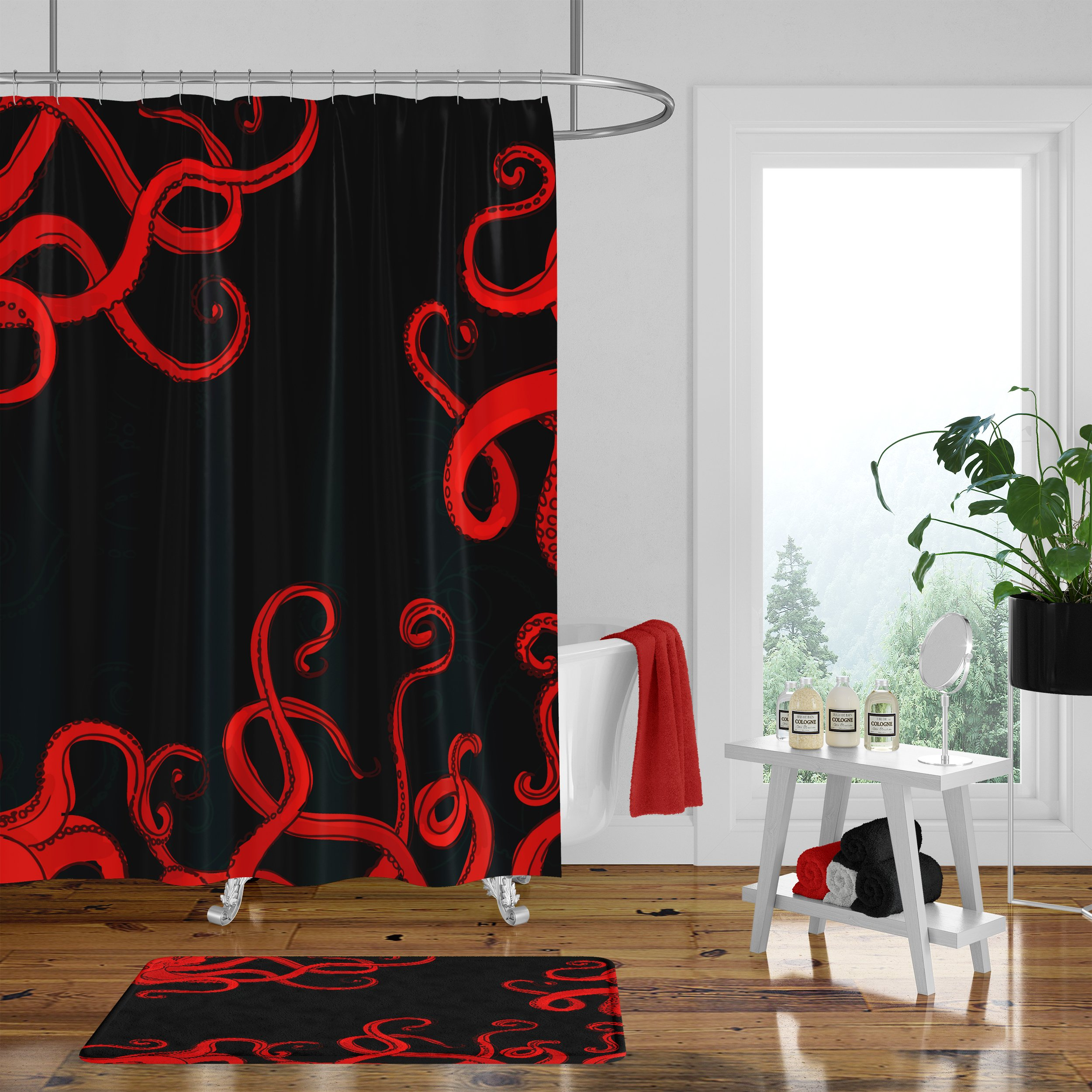 Black And Red Octopus Shower Curtain Towels Bath Mat Red