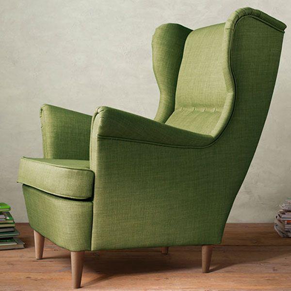 STRANDMON Wing chair, Skiftebo green - Skiftebo green ...