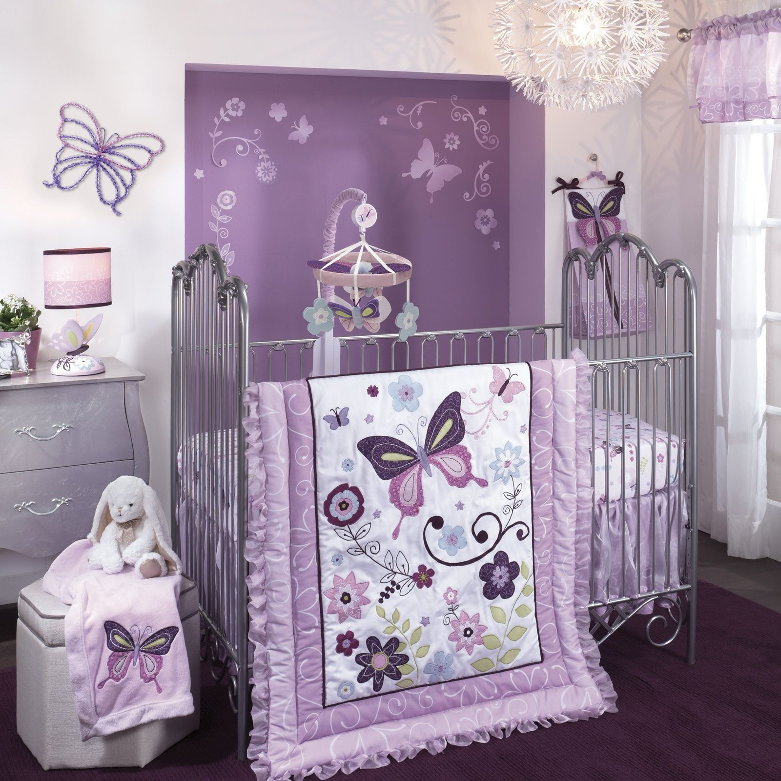 Bedroom cozy purple theme girl nursery ideas lambs and for Butterfly themed bedroom ideas