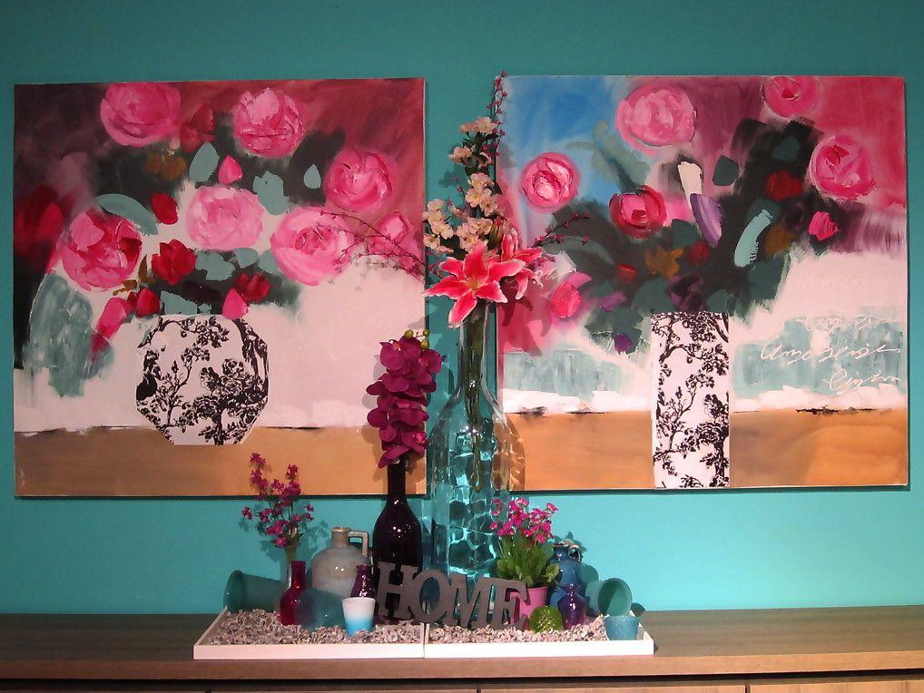schilderij, roze, dienblad, vazen, vaas, orchidee, bloemen ...