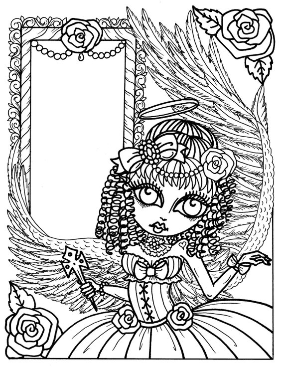Digital Book Gothic Angels Instant Download Coloring Book Color My