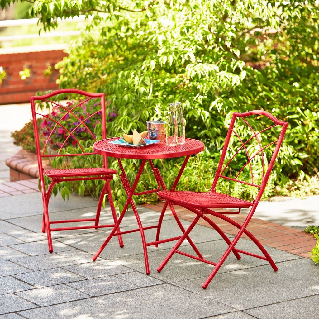 hd designs outdoors® orchards 3-piece folding bistro set - apple ... - Hd Designs Outdoors Patio Furniture