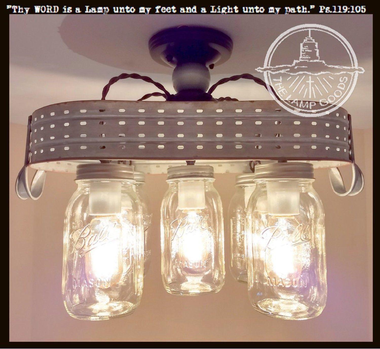 Galvanized Mason Jar Ceiling Light with Olive Basket   Products