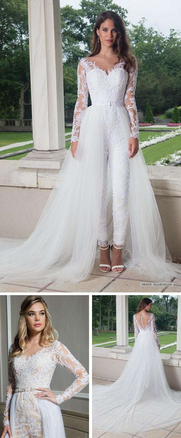 4c39195b0f6d MB4008 Tulle wedding jumpsuit with detachable A-line skirt features  illusion scoop neck