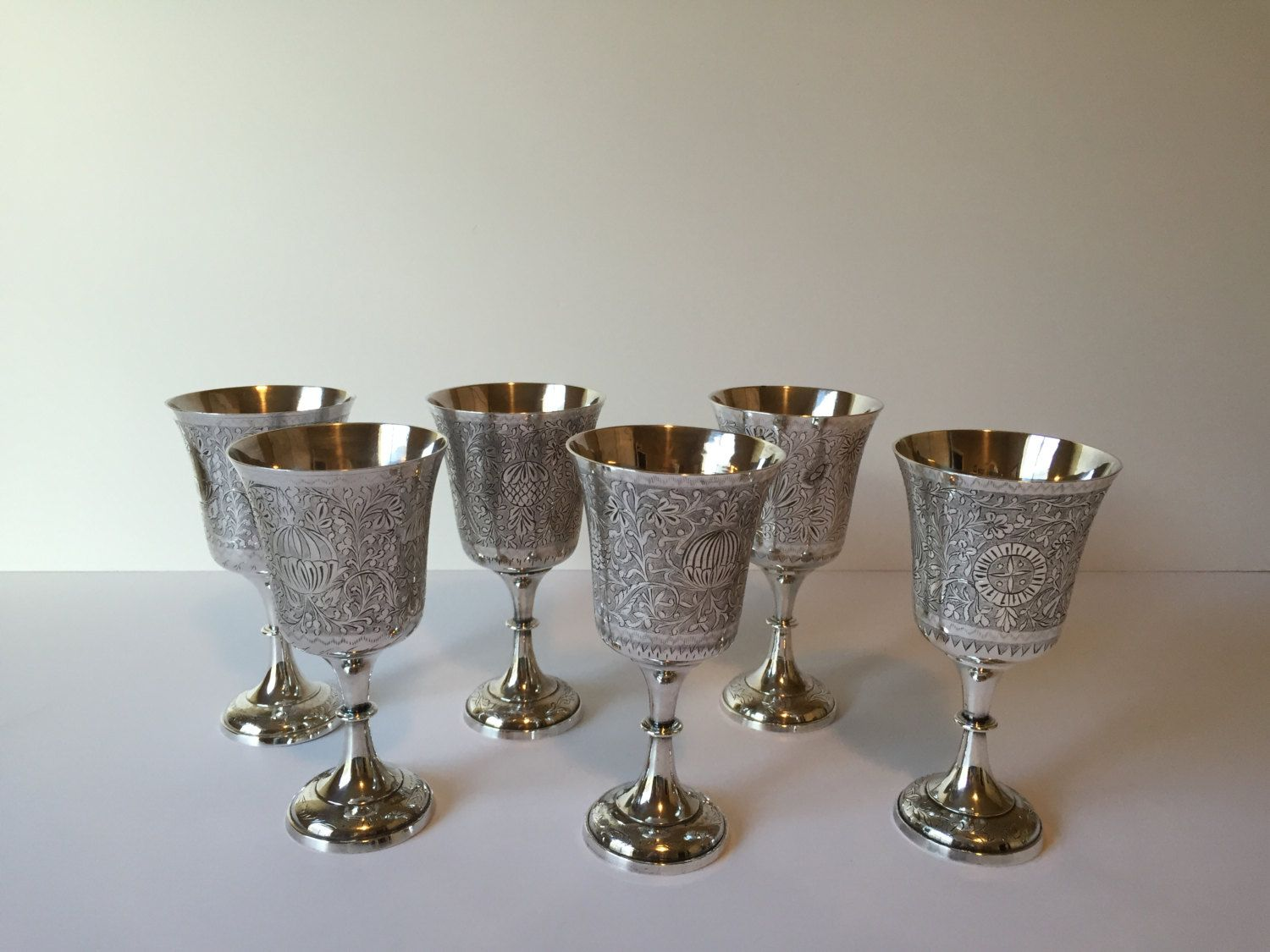Vintage Silver Wine Glasses Silver Plated Goblets World Gift Etsy Silver Wine Glasses Vintage Silver Wine Glasses