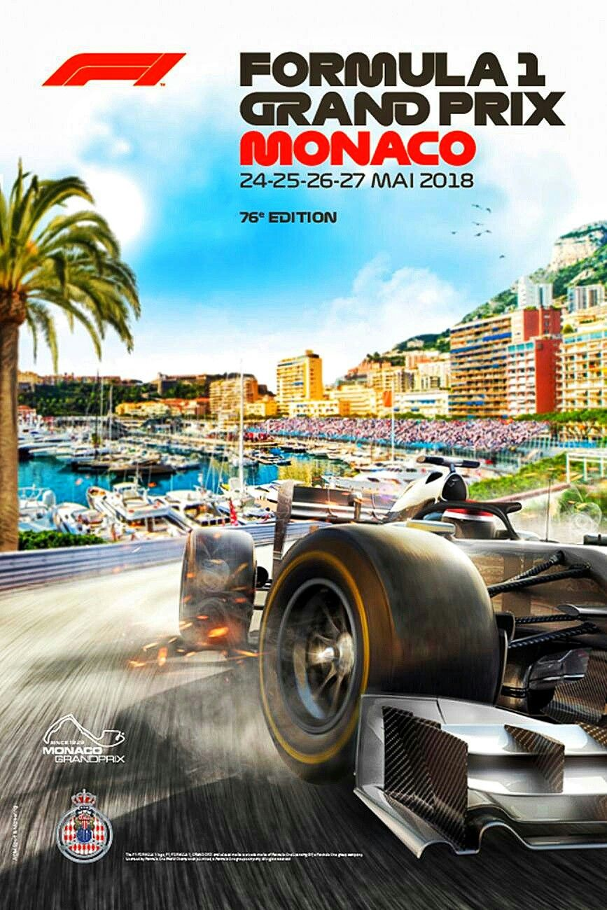 2018 monaco gp poster and cover art features a nouveau retro look with palm trees yac. Black Bedroom Furniture Sets. Home Design Ideas