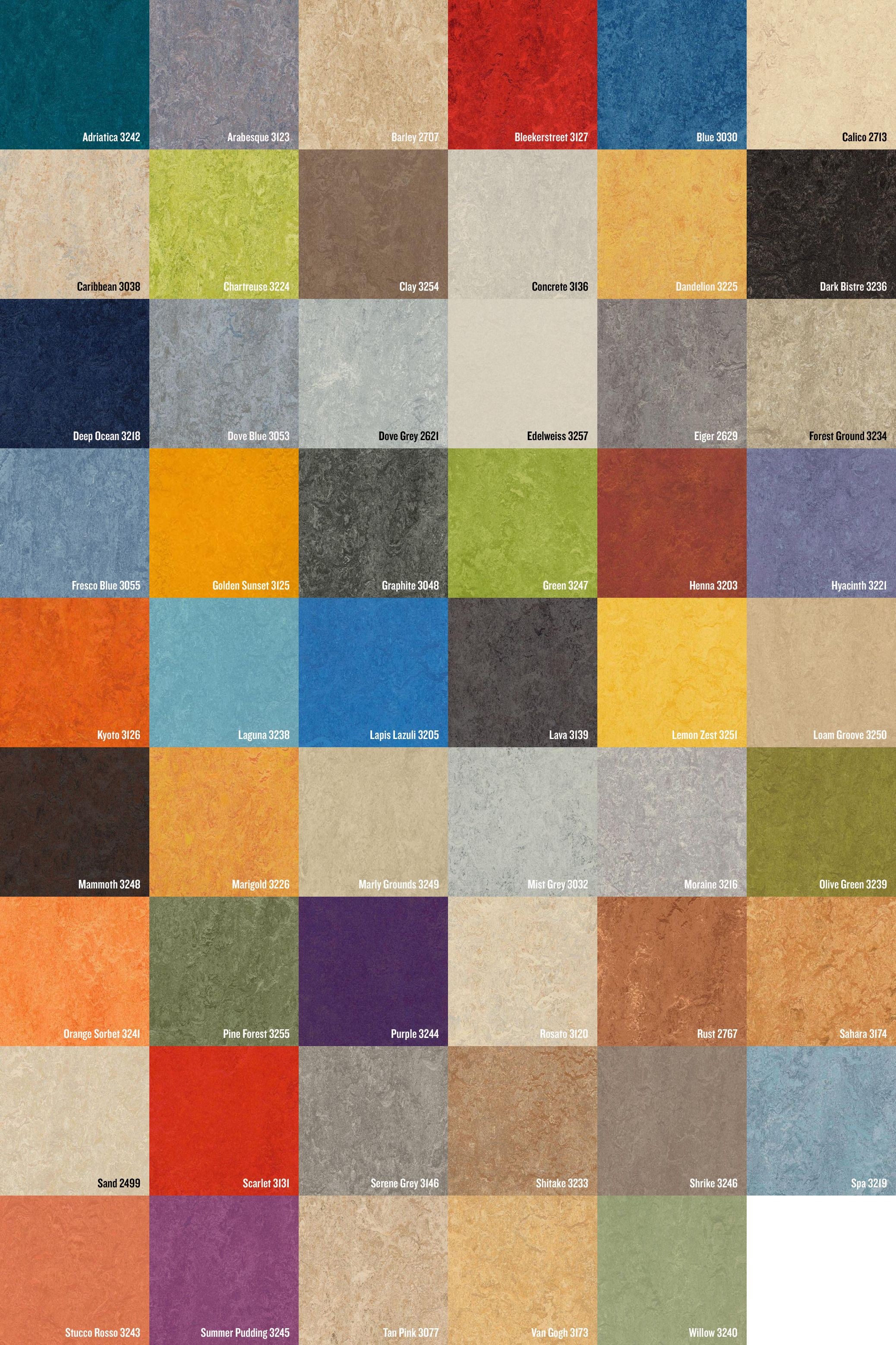 Just a few of the amazing colors Marmoleum comes in