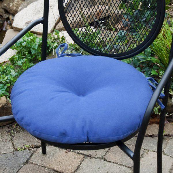 Set Of 2 18 Round Outdoor Bistro Chair Cushions Marine Blue 6 H