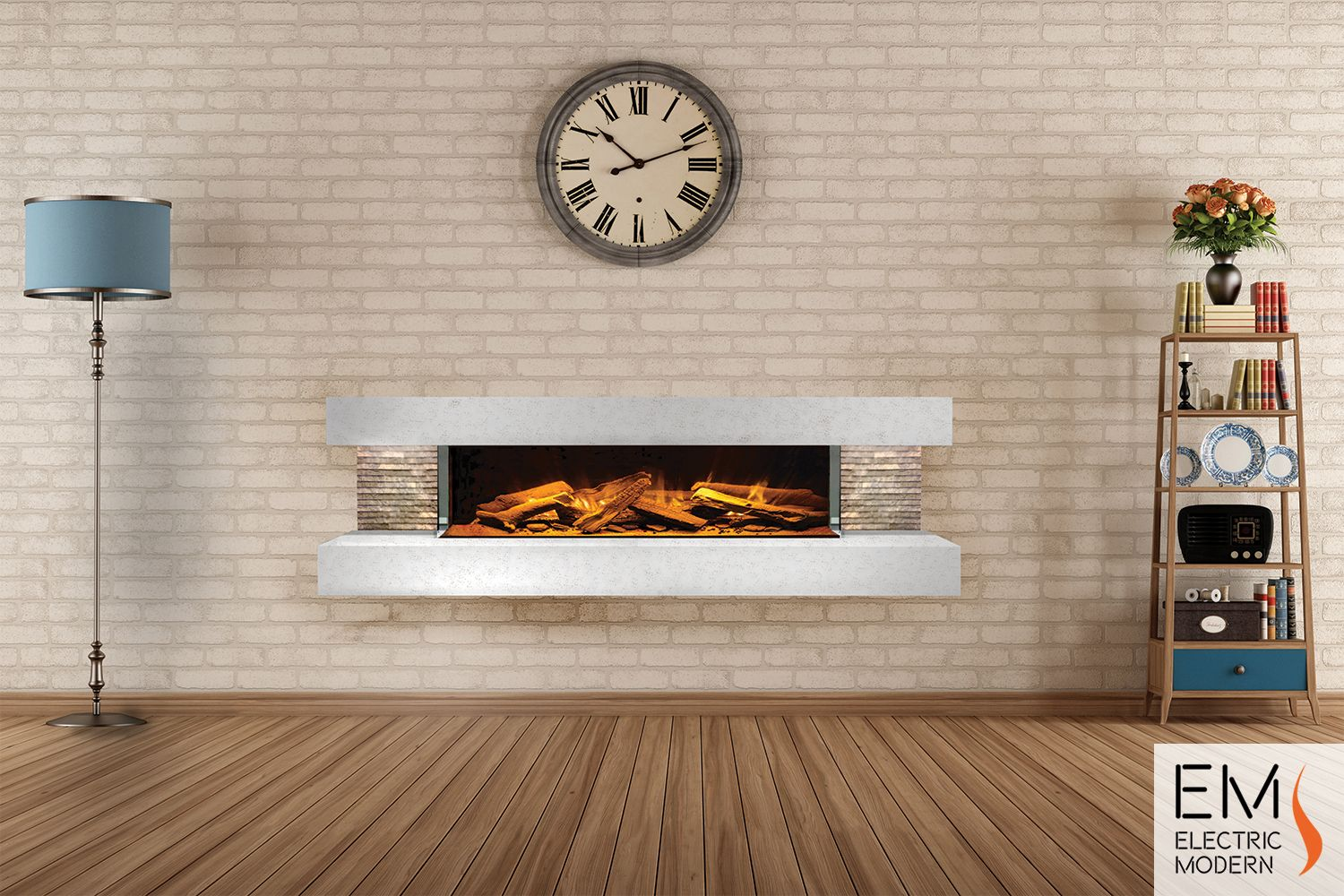 The compton is an electric linear fireplace kit that comes with