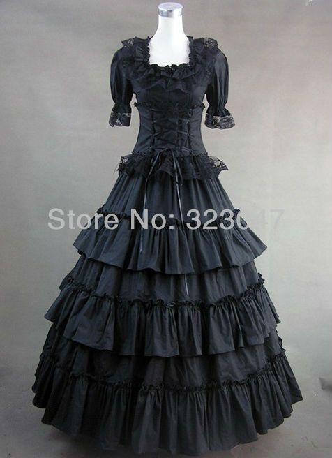 e5d5080e64 Custom Made Classic Black Gothic Victorian Dress Prom Gown Lolita ...
