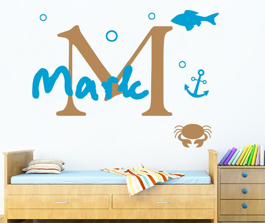 Wall decal personalized name monogram fish anchor boy nursery vinyl sticker ma76