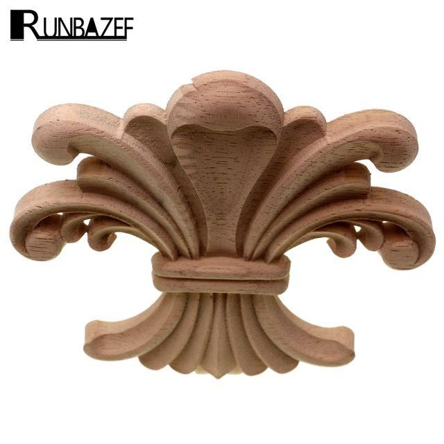 RUNBAZEF Floral Sculpté Decal Sculpture Sur Bois Coin Applique En
